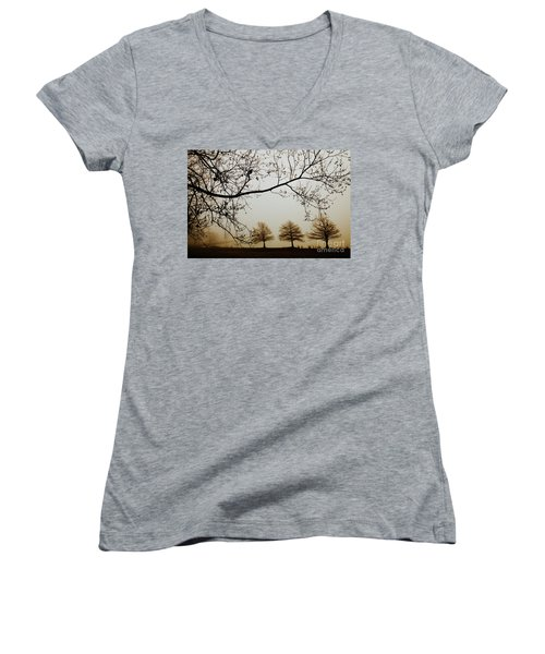 Women's V-Neck T-Shirt (Junior Cut) featuring the photograph Three Cypress In The Mist by Iris Greenwell
