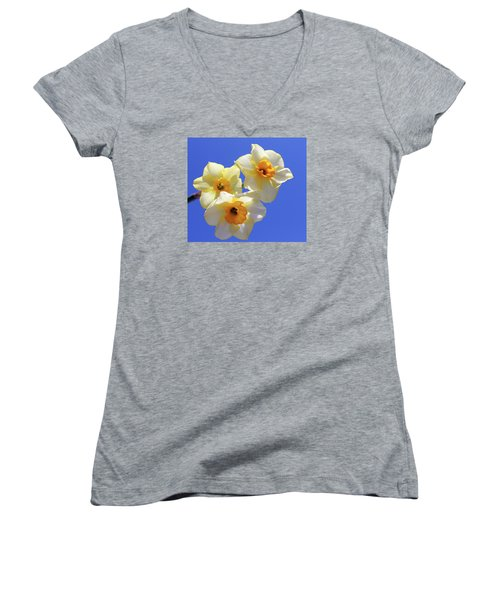 Women's V-Neck T-Shirt (Junior Cut) featuring the photograph Three Daffodils by Judy Vincent