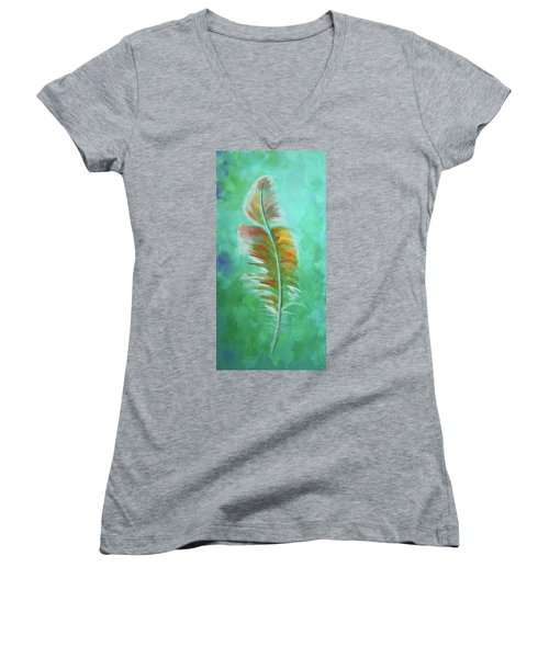 Three Feathers Triptych-left Panel Women's V-Neck (Athletic Fit)
