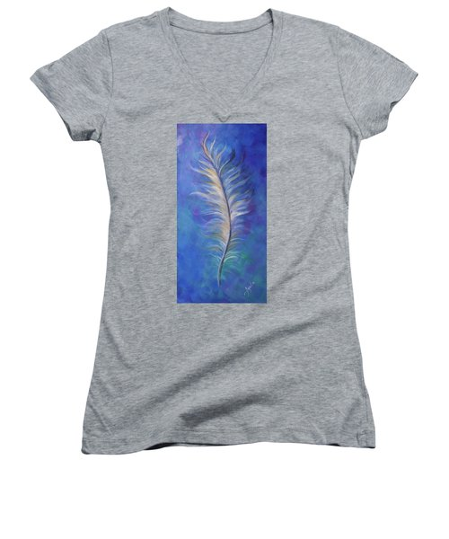 Three Feathers Triptych-right Panel Women's V-Neck (Athletic Fit)