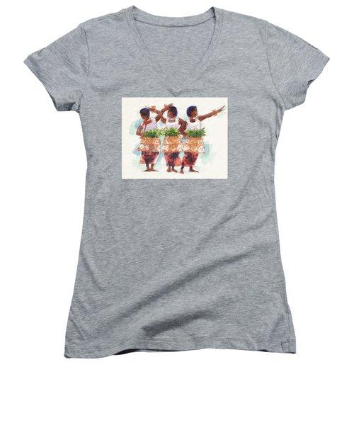 Three Fijian Dancers Women's V-Neck