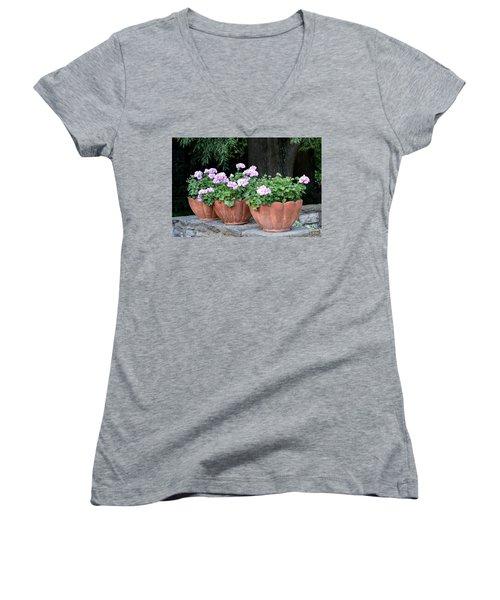 Three Flower Pots Women's V-Neck T-Shirt (Junior Cut) by Deborah  Crew-Johnson