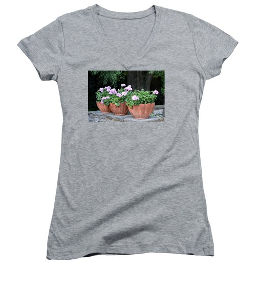 Women's V-Neck T-Shirt (Junior Cut) featuring the photograph Three Flower Pots by Deborah  Crew-Johnson
