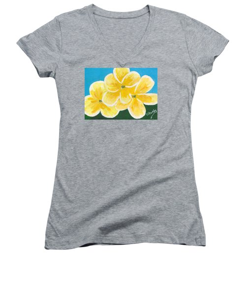 Three Flowers On Blue Women's V-Neck T-Shirt (Junior Cut)