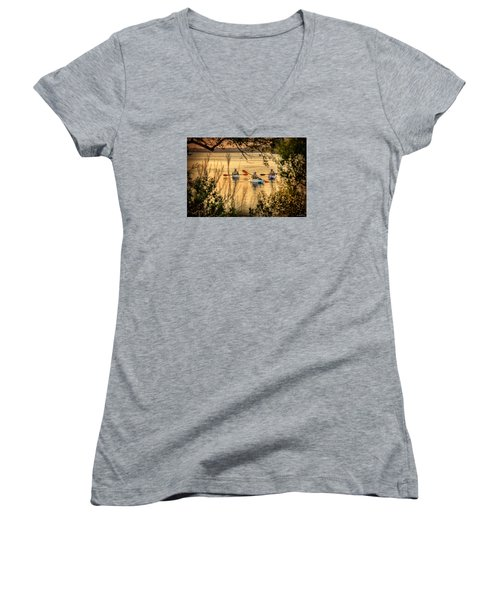 Women's V-Neck T-Shirt (Junior Cut) featuring the digital art Three Kayaks Coming Home by Phil Mancuso