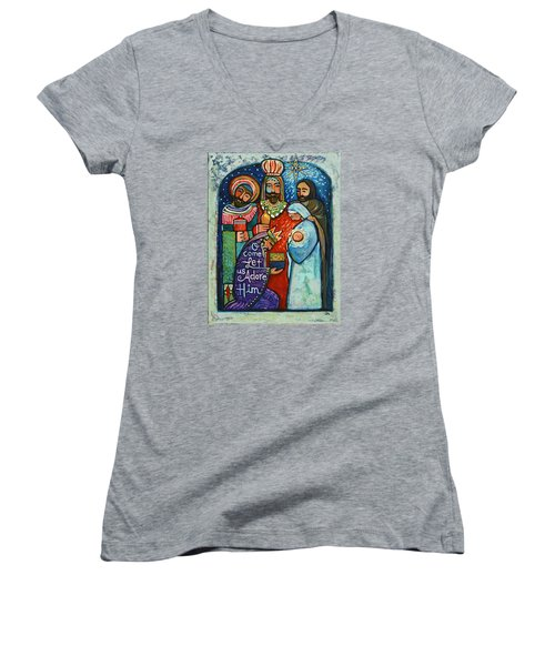 Three Kings O Come Let Us Adore Him Women's V-Neck T-Shirt