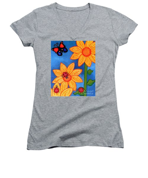 Three Ladybugs And Butterfly Women's V-Neck T-Shirt (Junior Cut) by Genevieve Esson
