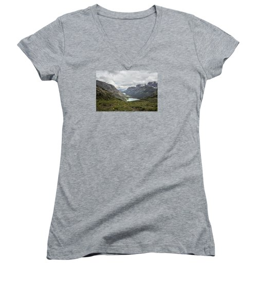 Three Lakes Viewed From Grinnell Glacier Women's V-Neck