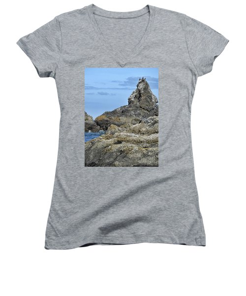 Women's V-Neck T-Shirt featuring the photograph Three Little Birds by Peggy Hughes