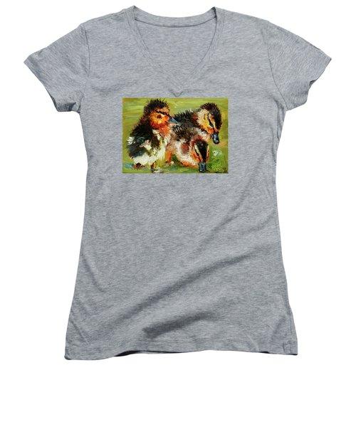 Three Little Ducks Women's V-Neck T-Shirt (Junior Cut) by Janet Garcia
