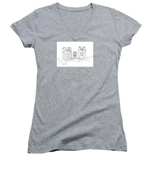 Three Little Owls Women's V-Neck T-Shirt (Junior Cut) by Ramona Matei
