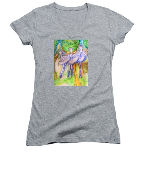 Three Magical Birds Women's V-Neck T-Shirt