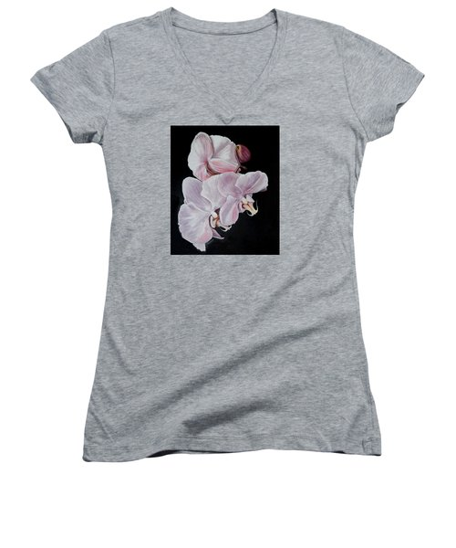 Women's V-Neck T-Shirt (Junior Cut) featuring the painting Three Orchids by Sandra Nardone