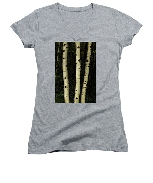 Women's V-Neck T-Shirt featuring the photograph Three Pillars Of The Forest by James BO Insogna