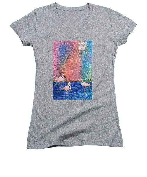 Women's V-Neck T-Shirt (Junior Cut) featuring the painting Three Pink Flamingos by Jackie Mueller-Jones