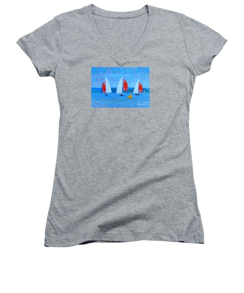 Three Red Sails  Women's V-Neck T-Shirt (Junior Cut) by Rae  Smith