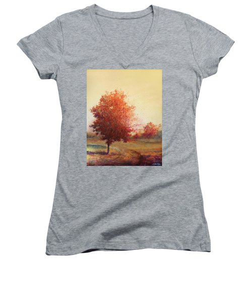 Women's V-Neck featuring the painting Three Red Trees by Andrew King