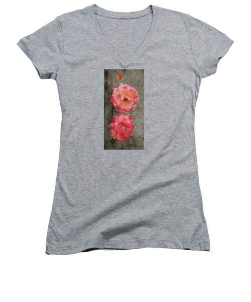 Three Roses Women's V-Neck T-Shirt (Junior Cut) by Dale Stillman