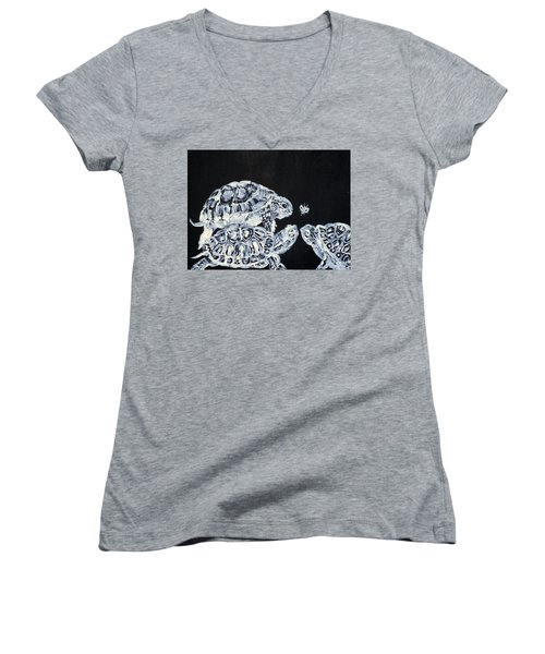 Women's V-Neck T-Shirt (Junior Cut) featuring the painting Three  Terrapins And One Fly by Fabrizio Cassetta