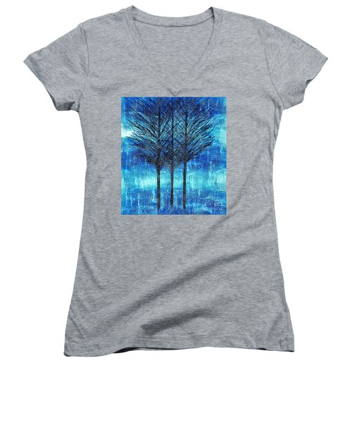 Three Trees  Women's V-Neck T-Shirt (Junior Cut)