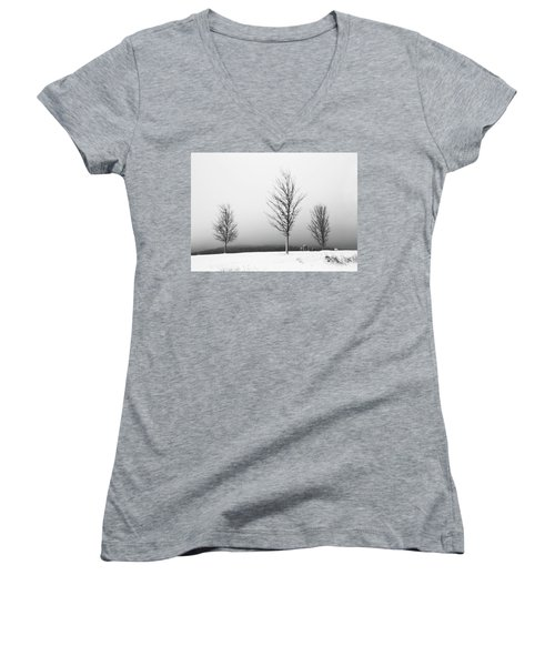 Three Trees In Winter Women's V-Neck T-Shirt (Junior Cut) by Brooke T Ryan