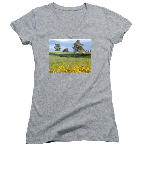 Women's V-Neck featuring the photograph Three Trees by Joseph R Luciano