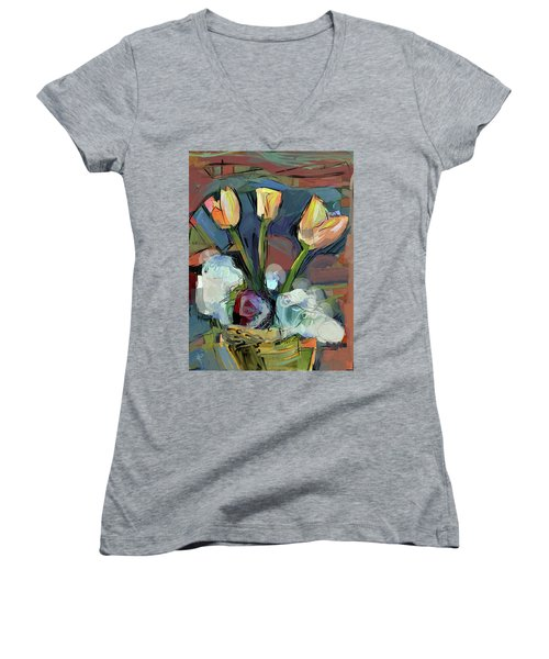 Three Tulips Women's V-Neck T-Shirt