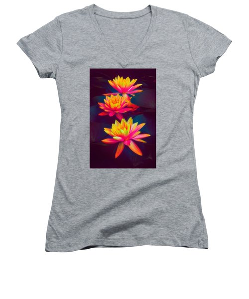 Women's V-Neck T-Shirt featuring the photograph Three Waterlilies by Chris Lord