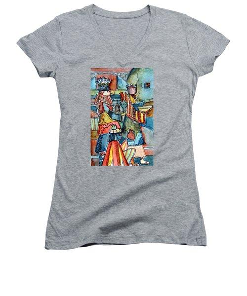 Three Wise Men Women's V-Neck T-Shirt (Junior Cut) by Mindy Newman