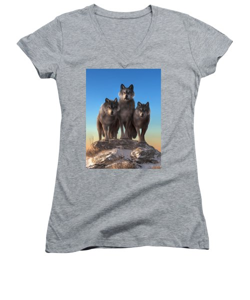 Three Wolves Watching You Women's V-Neck (Athletic Fit)