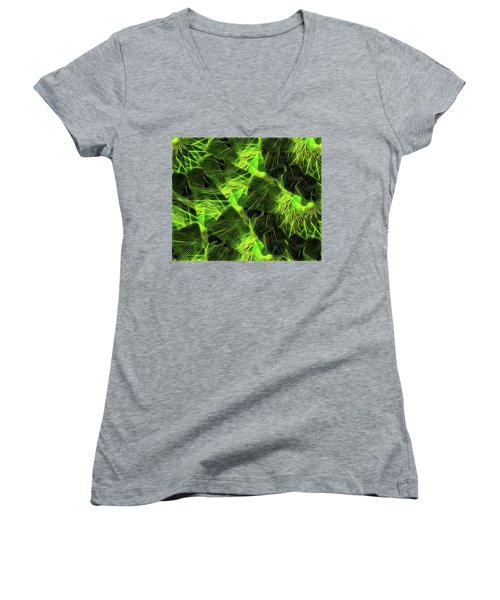 Women's V-Neck T-Shirt (Junior Cut) featuring the digital art Threshed Green by Ron Bissett