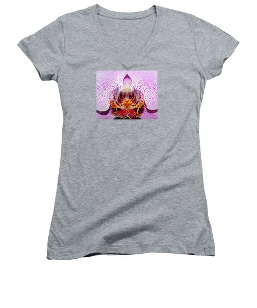 Women's V-Neck T-Shirt (Junior Cut) featuring the photograph Throat Of An Orchid by Judy Vincent