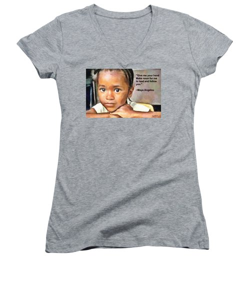 Women's V-Neck T-Shirt (Junior Cut) featuring the painting Through The Eyes Of A Child by Wayne Pascall