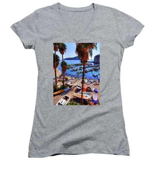 Through The Trees Dubrovnik Harbour Women's V-Neck
