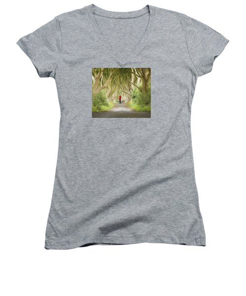 Through The Trees Women's V-Neck T-Shirt (Junior Cut) by Roy  McPeak