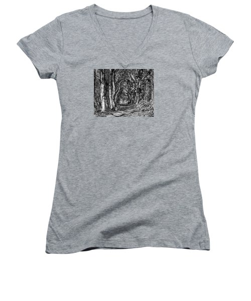Through The Tunnel Bw 16x20 Women's V-Neck (Athletic Fit)