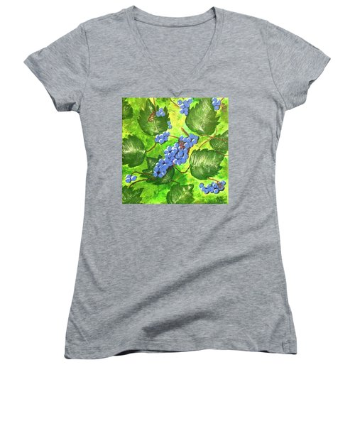 Through The Vines Women's V-Neck T-Shirt (Junior Cut) by Cynthia Morgan