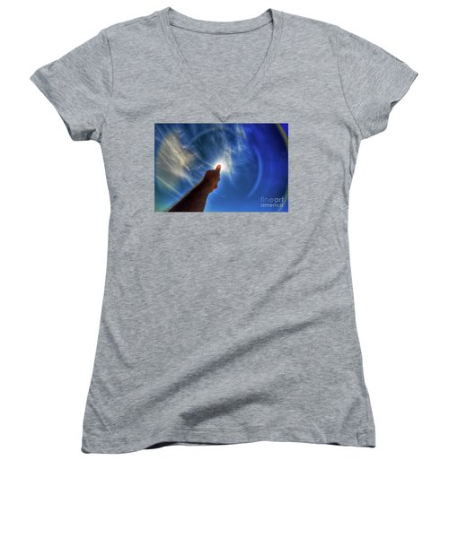 Thumb To The Sky Women's V-Neck T-Shirt