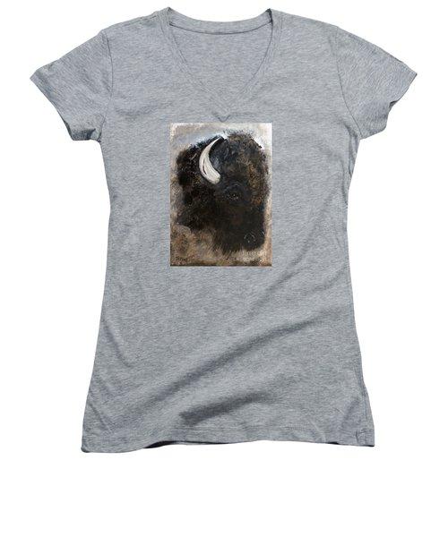 Women's V-Neck T-Shirt (Junior Cut) featuring the painting Thunder Medicine Cloud by Barbie Batson
