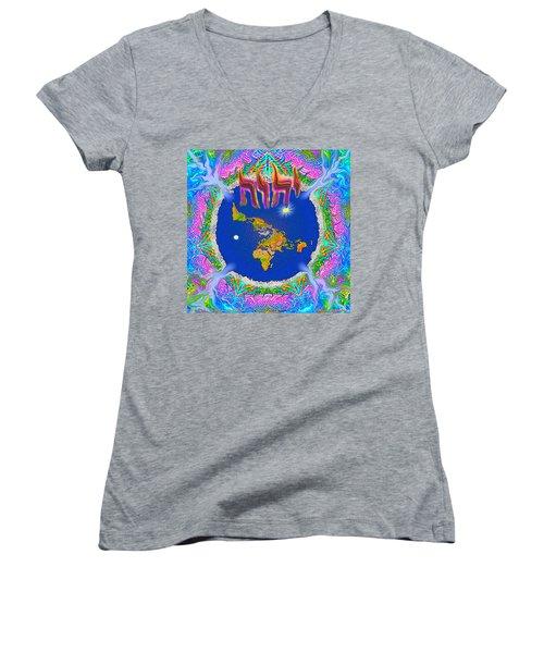 Y H W H Creation Mandala Flat Earth Women's V-Neck