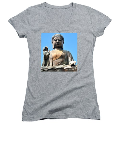 Tian Tan Buddha Women's V-Neck T-Shirt