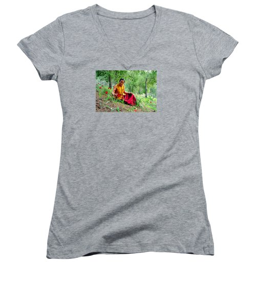 Tibetan Doctor In Lahav Forest Women's V-Neck (Athletic Fit)