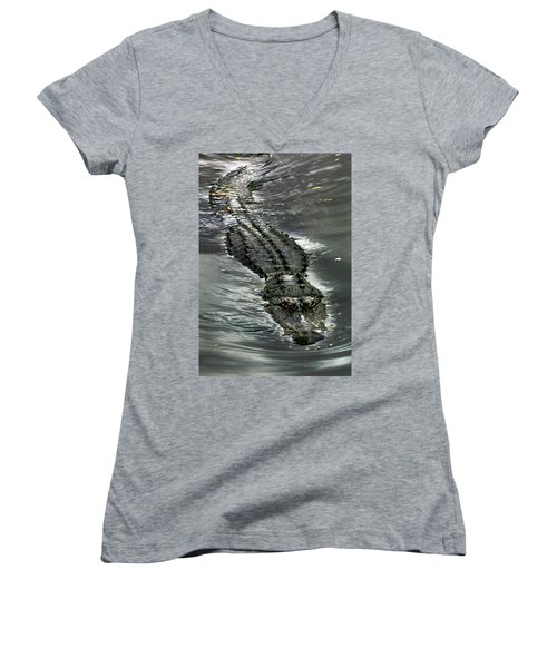 Women's V-Neck T-Shirt (Junior Cut) featuring the photograph Tick Tock by Anthony Jones