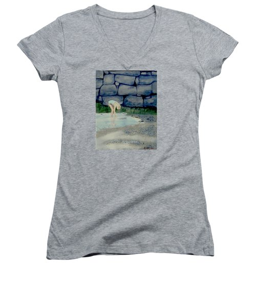 Women's V-Neck T-Shirt (Junior Cut) featuring the painting Tidal Pool Treasures by Anthony Ross
