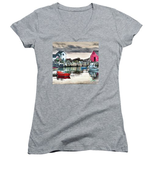 Tide's Out Women's V-Neck T-Shirt (Junior Cut) by Tom Cameron
