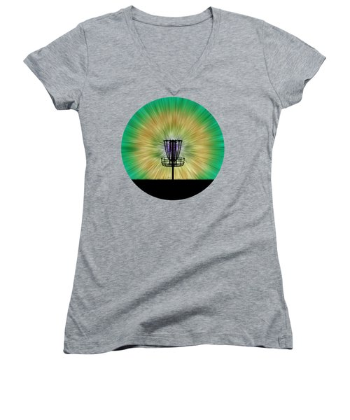 Tie Dye Disc Golf Basket Women's V-Neck T-Shirt (Junior Cut) by Phil Perkins