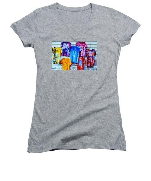 Grateful Dead Tie Dye Women's V-Neck T-Shirt (Junior Cut) by Susan Carella