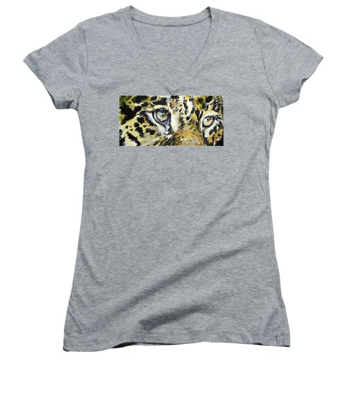 Women's V-Neck T-Shirt (Junior Cut) featuring the painting Tiger Eyes by Kovacs Anna Brigitta