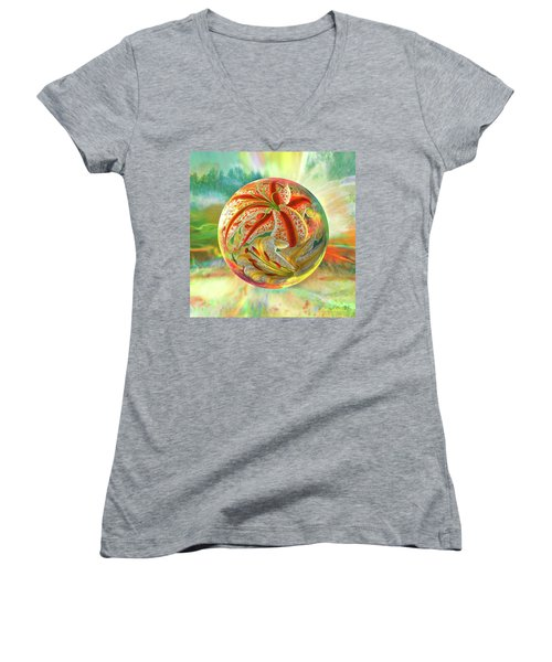 Tiger Lily Dream Women's V-Neck T-Shirt (Junior Cut) by Robin Moline