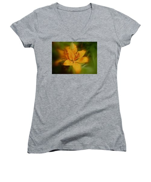 Women's V-Neck T-Shirt (Junior Cut) featuring the photograph Tiger Lily No. 1 by Richard Cummings